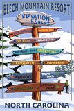 Beech Mountain, North Carolina - Ski Signpost Posters by  Lantern Press