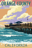 Orange County, California - Pier and Sunset Prints by  Lantern Press