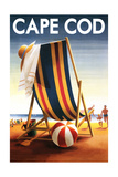 Cape Cod, Massachusetts - Beach Chair and Ball Posters by  Lantern Press