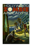 Hollywood, California - Zombie Apocalypse Art by  Lantern Press