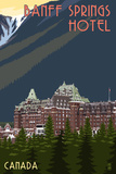 Banff, Canada - Banff Springs Hotel Print by  Lantern Press