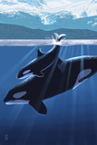 Orca and Calf (Mountains) Poster autor Lantern Press