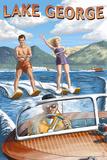 Lake George, New York - Waterskiers and Boat Prints by  Lantern Press