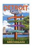 Detroit, Michigan - Sign Post Poster by  Lantern Press