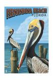 Fernadina Beach, Florida - Brown Pelican Affiches par  Lantern Press