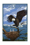 Cascade Mountains, Washington - Eagle Perched with Chicks ポスター : ランターン・プレス