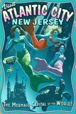 Atlantic City, New Jersey - Mermaids Vintage Sign Prints by  Lantern Press