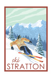 Stratton, Vermont - Downhill Skier Scene Art by  Lantern Press