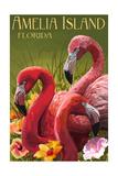 Amelia Island, Florida - Flamingos Prints by  Lantern Press