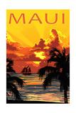 Sunset and Ship - Maui, Hawaii Prints by  Lantern Press