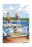 Water Skiing and Wooden Boat (Hill Background) Poster by  Lantern Press