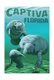 Captiva, Florida - Manatees Print by  Lantern Press