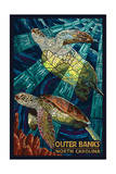 Outer Banks, North Carolina - Sea Turtle Mosaic Poster van  Lantern Press