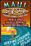 Surf Shop Vintage Sign - Maui, Hawaii Art by  Lantern Press