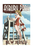 Asbury Park, New Jersey - Lifeguard Pinup Girl Prints by  Lantern Press