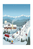 Retro Ski Resort Art by  Lantern Press