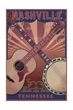 Nashville, Tennessee - Guitar and Banjo Music Prints by  Lantern Press
