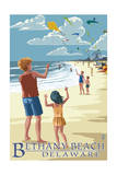 Bethany Beach, Delaware - Kite Flyers Poster by  Lantern Press
