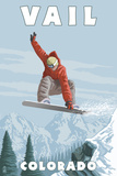 Vail, Colorado - Snowboarder Jumping Premium Giclee Print by  Lantern Press