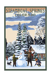Steamboat Springs, Colorado - Snowman Scene Posters
