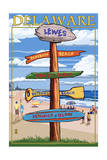 Lewes, Delaware - Destination Signpost Prints