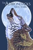 The Adirondacks, New York - Wolf Howling at Moon Prints by  Lantern Press