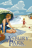 Asbury Park, New Jersey - Woman on the Beach Prints by  Lantern Press