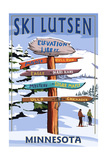 Lutsen Mountains - Ski Signpost Prints by  Lantern Press