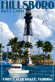 Ft. Lauderdale, Florida - Hillsboro Inlet Light Art by  Lantern Press