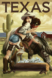 Texas - Cowgirl Pinup Print by  Lantern Press