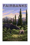Fairbanks, Alaska - Moose and Baby Art by  Lantern Press