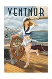 Ventnor, New Jersey - Pinup Girl Sailing Poster by  Lantern Press