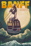 Banff, Canada - Gondola and Full Moon Art by  Lantern Press
