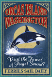 Orcas Island, WA - Orca Whale Vintage Sign Posters by  Lantern Press