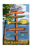 Lake Winnipesaukee, New Hampshire - Signpost Destinations Prints by  Lantern Press