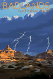 Badlands National Park, South Dakota - Lightning Storm Poster by  Lantern Press