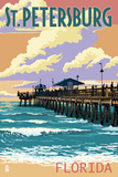St Petersburg, Florida - Pier and Sunset Poster by  Lantern Press
