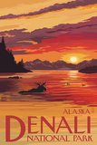 Denali National Park, Alaska - Moose at Sunset Posters by  Lantern Press