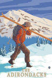 The Adirondacks, New York State - Skier Carrying Skis Planscher av  Lantern Press