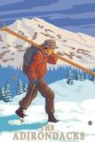 The Adirondacks, New York State - Skier Carrying Skis Print