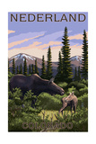Nederland, Colorado - Moose and Baby Posters by  Lantern Press