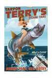 Asbury Park, New Jersey - Tarpon Fishing Pinup Girl Prints by  Lantern Press