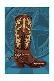 Letterpress Boot - Nashville, Tennessee Posters