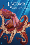 Tacoma, Washington - Red Octopus Posters by  Lantern Press