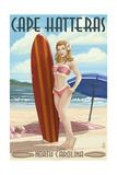 Cape Hatteras, North Carolina - Surfer Girl Pinup Prints by  Lantern Press