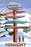 Okemo Mountain Resort, Vermont - Ski Sign Destinations Plakat autor Lantern Press