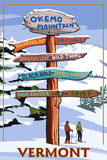Okemo Mountain Resort, Vermont - Ski Sign Destinations Premium Giclee Print by  Lantern Press