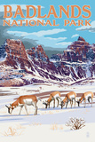 Badlands National Park, South Dakota - Antelope in Winter Prints by  Lantern Press