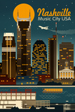 Retro Skyline - Nashville, Tennessee Prints by  Lantern Press