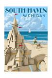 South Haven, Michigan - Sandcastle Print by  Lantern Press